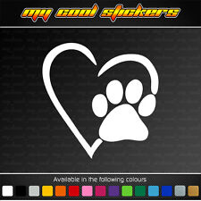 Love Heart Pet Paw Print Cat Dog Vinyl Sticker Decal for car, ute, truck, window