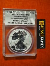 2011 P REVERSE PROOF SILVER EAGLE ANACS PR70 FIRST DAY ISSUE FROM 25TH ANN SET