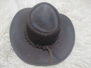 Kakadu Traders Australia Brown Leather Cowboy Western Hat  Sz Large