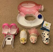 3 Zhu Zhu Pets Hamsters & Disco House Playset Baby Stroller Patches Moo Jilly