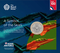 RAF Centenary Badge 2018 Brilliant Uncirculated £2 Coin Airplane Royal Mint Pack