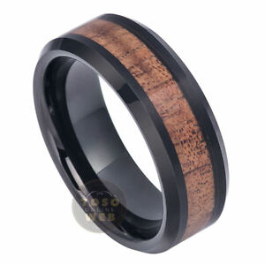 Men's 8mm Beveled Edge Black IP Tungsten Ring w/ Hawaiian Koa Wood Inlay TS6980