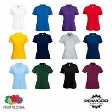 Fruit of the Loom Womens Plain Lady-Fit Polo Shirt Top  12 COLOURS  XS - 2XL