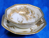 Nippon The Yamoto Antique Hand Painted Porcelain Bowl Saucer Set Gold Dragon