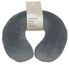 Grey - Soft Velour Memory Foam Comfort Neck Support Car & Plane Cushion