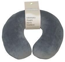 Grey - Soft Velour Memory Foam Comfort Neck Support Car & Plane Cushion