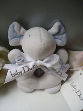 Dior Couture Baby Boy Pale Blue & White Velvet Rattle Toy Teething New with Tag