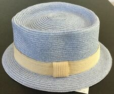 MAKINS NYC BABY BLUE/BEIGE FEDORA TRILBY USA MADE HAT  MILAN STRAW S 55CM 6 7/8