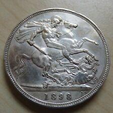Queen Victoria Crown 1898 Silver High Grade (myrefn18105)