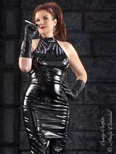 Lackkleid Kleid Schwarz Mini Ärmellos Vinyl Maßanfertigung
