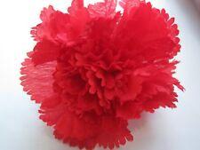 50 Red Silk Artifical Carnation Stemless For Funeral Frames