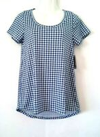 NEW WOMEN'S LULAROE CLASSIC T BLUE & WHITE CHECK GINGHAM HI LO STRETCHY TOP XS