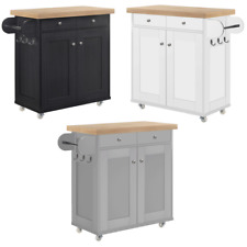 Solid Wood Portable Kitchen Island Cart/Storage Trolley/Wheeled Pantry Cupboard