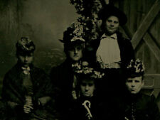TRAVELING HAT LADY CLUB. FIVE WOMEN IN HATS, UMBRELLAS AND SUITCASES. TINTYPE.