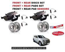 FOR MERCEDES ML420 CDi 2006--  FRONT + REAR BRAKE DISCS SET + PADS KIT+ SENSORS