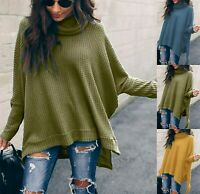 Winter Women Baggy Knitted Oversized Sweater Jumper Long Pullover Tops Plus Size