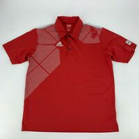 Adidas Mens Golf Polo Shirt Size Medium M Red Climacool Short Sleeve Casual
