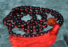 Root Chakra Black & Red Onyx 6mm 108+1 Hand Knotted Mala Chakra Beads Necklace
