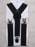 NEW BLACK BOYS GIRLS CLASSIC CLIP ON BRACES SUSPENDERS ADJUSTABLE AGE 2-6