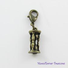 Vintage Look Antique Bronze 3D Hourglass Charm fit Clip on Charm Bracelet