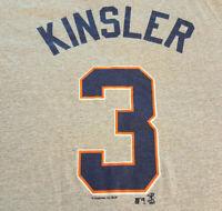 Detroit Tigers Ian Kinsler Jersey T Shirt S Small MLB EUC Baseball Gray INV301
