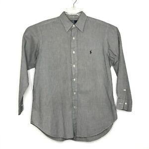 Polo Ralph Lauren Dress Shirt Adult 15.5-32 Gray Checkered Lowell Button Up Mens
