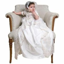 Soft Baptism Dresses Christening Baby Gown Long Appliques Lace 18-24Month Ivory