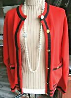 Chanel Red & Black 100%  Cashmere Cardigan Size 46
