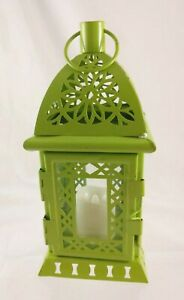 """Green Metal Lantern w/ Built-in Battery Candle 8"""" Tall 3.5"""" Wide/Deep"""