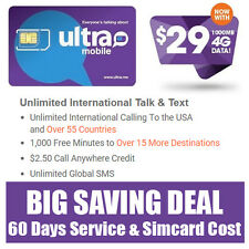 Free 60 Days - Ultra Mobile Prepaid SIM Card $29 Unlimited Talk Text & 1GB Web