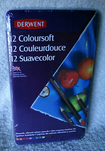 **NEW** ~ DERWENT SET OF 12 COLOURSOFT PENCILS  IN TIN~