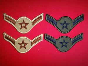 2 Pairs Of USAF AIRMAN Rank Subdued & Desert Tan Chevrons (Male) Never Worn