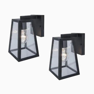 Project Source 2-Pack 8.5-in H Black Medium Base (E-26) Outdoor Wall Light