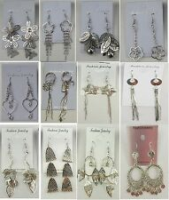 SU-2 Wholesale lot 12 pairs Fashion Dangle Silver Plated  Earrings US-SELLER