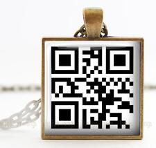 """QR Code """"I love you!"""" Pendant Charm or Key Chain 1"""" Use QR Scan App on phone"""