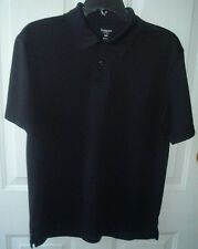 HAGGAR MENS BLACK POLO SHIRT SHORT SLEEVE ~  POLYESTER ~ SIZE SMALL ~  FREE S/H