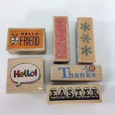 Rubber Wood Mounted Stamps Card Sentiments Hello Easter Snowflakes Mixed Used