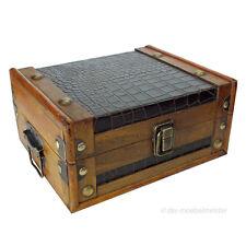Aufbewahrungskiste Schatulle Kasten Box Aufbewahrung Deko Truhe Holz Leder Antik