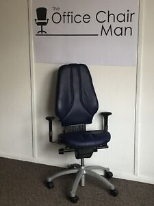 RH 400 High Back Blue Leather Orthopaedic Executive Operator Chair 3 Button