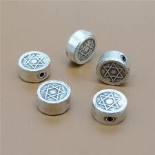 2 Thai Karen Hill Tribe Silver Star of David Beads 2-Sided for Bracelet Necklace