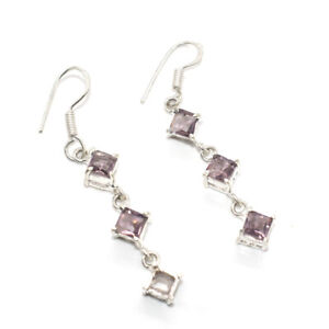 Faceted Pink Amethyst Gemstone Jewelry Fashion Earring 1'' to 2'' P298