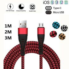 1-3M Braided Micro USB Type-C IOS Charger Cable For iPhone 6 7 8 X Samsung S8 S7