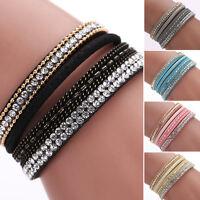 Fashion Crystal Velvet Leather Magnetic Bracelet Punk Wrap Wristband Cuff Bangle