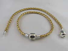 18cm SP GORGEOUS GOLDEN BRAIDED LEATHER CHAINS FOR EURO STYLE CHARM BRACELETS