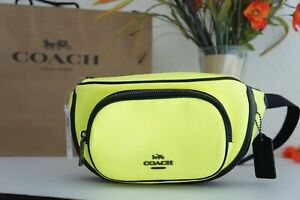 NWT Coach C6077 Court Belt Bag In Colorblock Pebble Leather Glo Lime $298