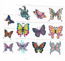 12 x Beautiful Butterfly Temporary Tattoos - Kids Party Favours, stocking filler