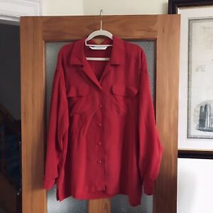Marks M And S Red Silk Blouse 90s Long Sleeve Button Front Size 14 Oversized
