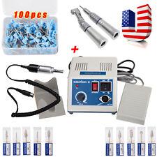USA Marathon Micromotor 2X Low Handpieces 10X Burs 100pcs Polishing Cups Blue N3
