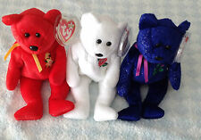 Ty Beanie Bears British x 3 Daffodil Rose Thistle + tag protectors new GIFT IDEA