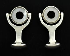 Vintage 1998 Tateossian Of London 925 Sterling Silver MOP Onyx Toggle Cufflinks
